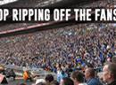 Protestaktion gegen hohe Fussballpreise