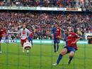 Basels Julio Hernan Rossi verwandelt den ersten Penalty zum 1:0 fuer Basel.