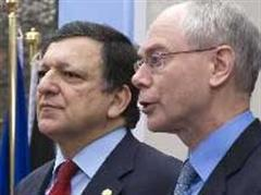 José Manuel Barrosound Herman van Rompuy in Brüssel.