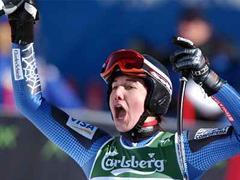 Jonna Mendes bei ihrem Erfolg in St. Moritz.