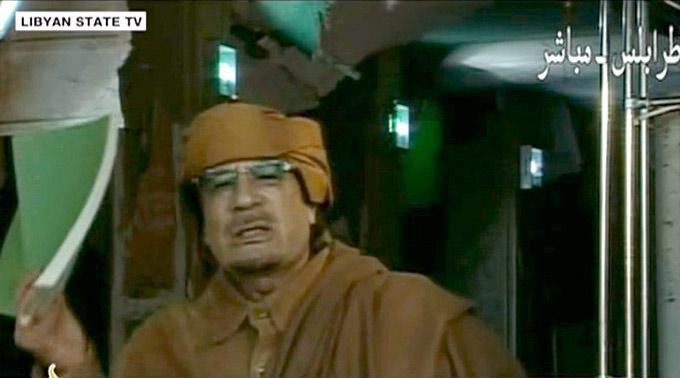 Muammar al-Gaddafi heute im Staatsfernsehen.