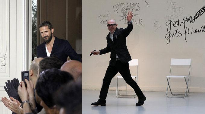 Yves Saint Laurent Designer Stefano Pilati und Issey Miyake Creative Director Dai Fujiwara.