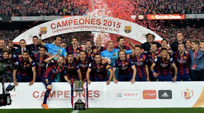 So sehen Sieger aus: Barça im Freudentaumel.