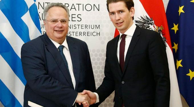 Sebastian Kurz (r.) hat Nikos Kotzias (l.) empfangen. (Archivbild)